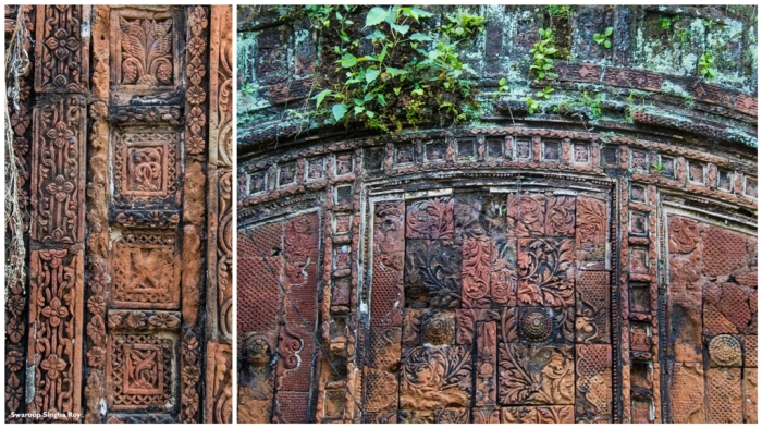 The decorated terracotta walls of the temples