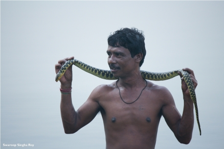 Fisherman with dead Checkered Keelback