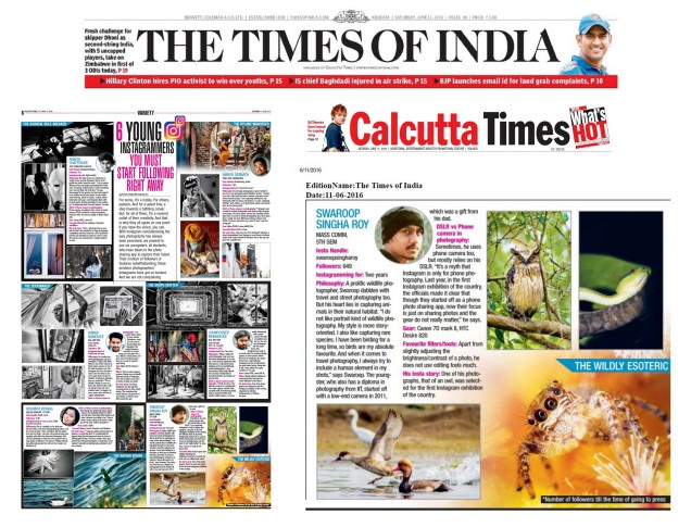 Got featured in Times of India, Calcutta Times (August 1, 2016)